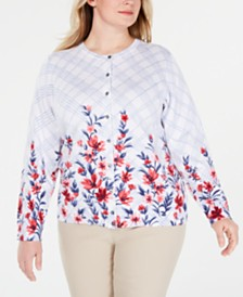 Karen Scott Plus Size Liberty Dream Cardigan Sweater, Created for Macy's