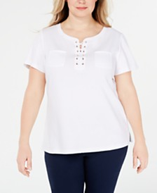 Karen Scott Plus Size Lace-Up Cotton Top, Created for Macy's