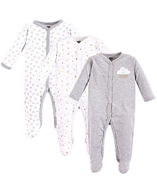 Hudson Baby Unisex Baby Coveralls/Union Suits and Sleep and Play, Gray Clouds Sleep N Play 3-Pack, 6-9 Months