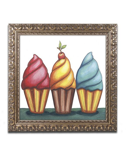 "Trademark Global Jennifer Nilsson Cupcake Trio Ornate Framed Art - 16"" x 20"" x 0.5"""
