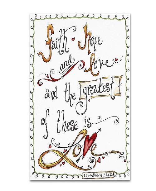 """Trademark Global Jennifer Nilsson Words of Love - Greatest of These Canvas Art - 16"""" x 20"""" x 0.5"""""""