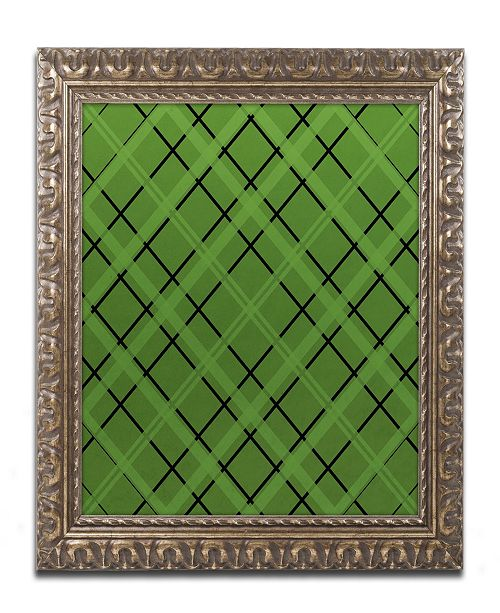 "Trademark Global Jennifer Nilsson Green Diamond Plaid 2 Ornate Framed Art - 16"" x 20"" x 0.5"""