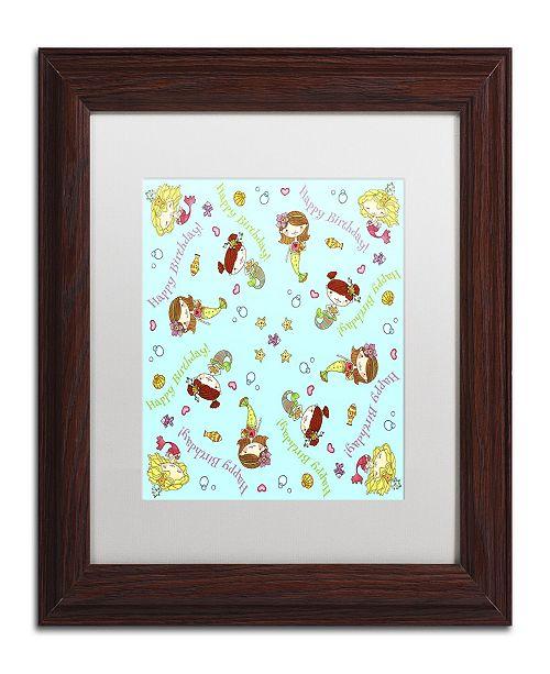 "Trademark Global Jennifer Nilsson Mermaid Birthday Matted Framed Art - 11"" x 11"" x 0.5"""