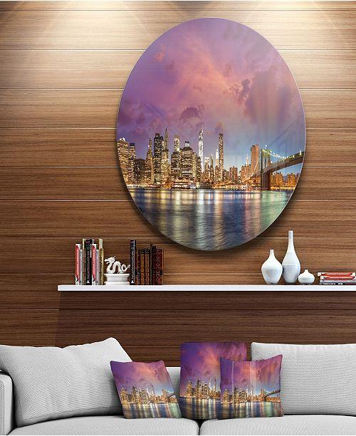 "Design Art Designart 'New York Manhattan Skyline With Clouds' Ultra Glossy Cityscape Circle Wall Art - 38"" x 38"""