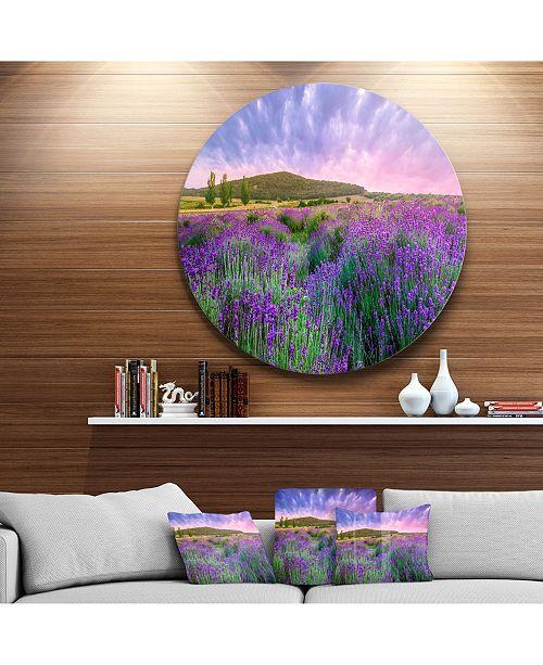 "Design Art Designart 'Summer Lavender Field In Tihany' Landscape Metal Circle Wall Art - 23"" x 23"""