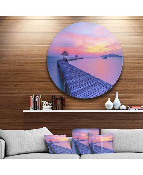 "Design Art Designart 'Long Wooden Bridge Into The Sunset' Pier Seascape Metal Circle Wall Art - 23"" x 23"""