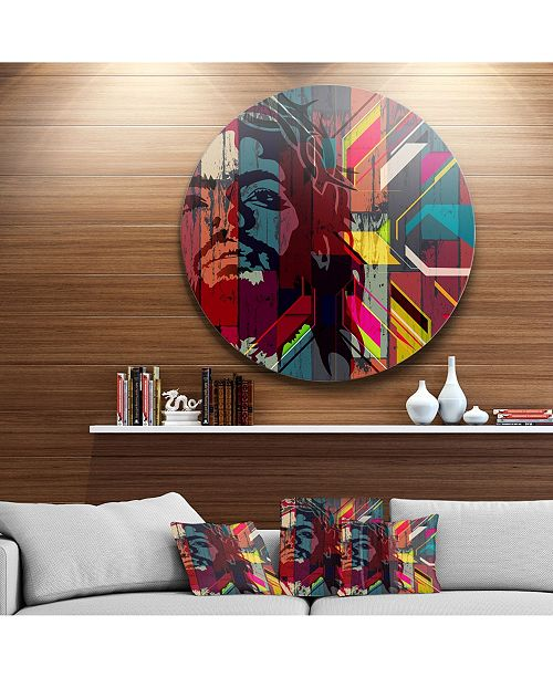 "Design Art Designart 'Jesus Over Abstract Wooden Design' Ultra Glossy Large Abstract Oversized Metal Circle Wall Art - 38"" x 38"""