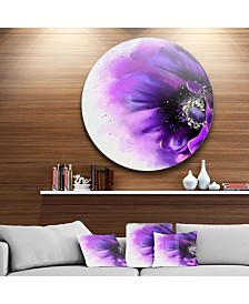 "Designart 'Purple Stylized Watercolor Poppy' Oversized Floral Aluminium Wall Art - 23"" x 23"""
