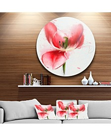 "Designart 'Wonderful Red Poppy Watercolor' Oversized Floral Aluminium Wall Art - 38"" x 38"""