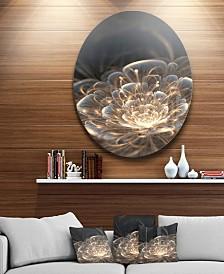 "Designart 'Fractal Flower With Golden Rays' Disc Floral Circle Metal Wall Art - 23"" x 23"""