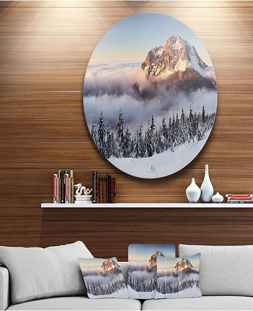 "Design Art Designart 'Winter Mountain Landscape' Disc Photography Circle Metal Wall Art - 38"" x 38"""