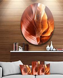 "Designart 'Sunshine In Antelope Canyon' Landscape Photo Circle Metal Wall Art - 38"" x 38"""