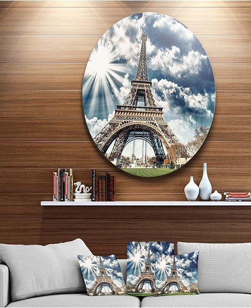 "Design Art Designart 'Magnificent Paris Eiffel Towerview' Skyline Photography Circle Metal Wall Art - 38"" x 38"""