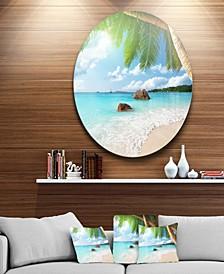 "Designart 'Praslin Island Seychelles Beach' Seashore Photo Circle Metal Wall Art - 38"" x 38"""