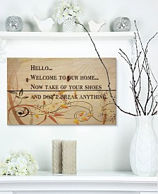 """Design Art 'Welcome to our home... Orange vines' Wood Wall Art - 20"""" x 12"""""""