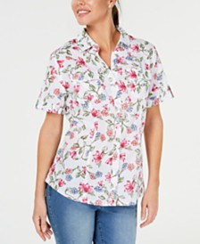 Karen Scott Petite Iris Bliss Textured Cotton Shirt, Created for Macy's