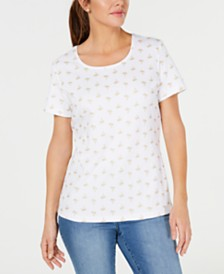Karen Scott Petite Sparkle Palms Printed Top, Created for Macy's