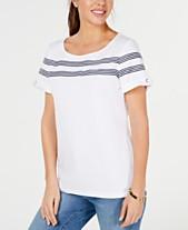 6b12101d236a4c Karen Scott Striped-Ribbon-Trim Cotton Top