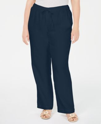 Plus Size Linen Straight-Leg Pants, Created for Macy's