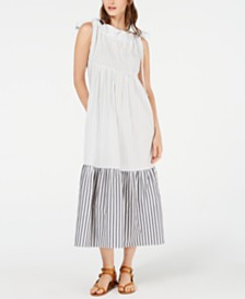 Weekend Max Mara Utopico Cotton Striped Tiered Dress