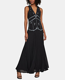 BCBGMAXAZRIA Embroidered Pleated Gown