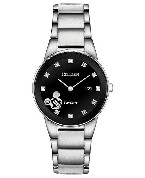 Citizen Eco-Drive Women's Mickey Mouse Diamond-Accent Bracelet Watch 29.5mm