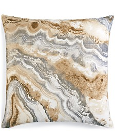 "Jetrich Canada Marble Silver 20"" x 20"" Decorative Pillow"