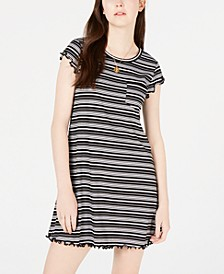 Juniors' Striped Lettuce-Edge Dress