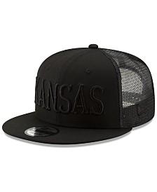 New Era Kansas Jayhawks Black on Black Meshback Snapback Cap