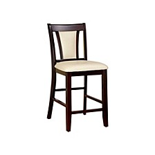 Wooden Side Chair with Padded Ivory Seat & Back - Set Of 2