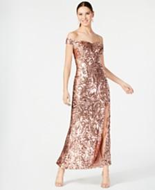 Nightway Petite Sequined Off-The-Shoulder Gown