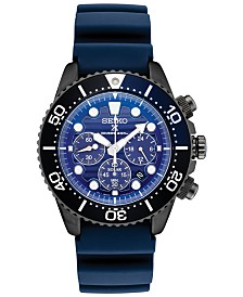 Seiko Men's Solar Chronograph Prospex Blue Silicone Strap Watch 43.5mm, A Special Edition