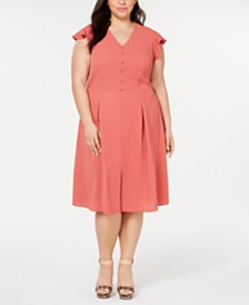 Monteau Trendy Plus Size Button-Front Dress
