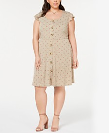 Monteau Trendy Plus Size Printed Button Dress