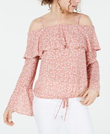 BCX Juniors' Printed Off-The-Shoulder Bell-Sleeve Top