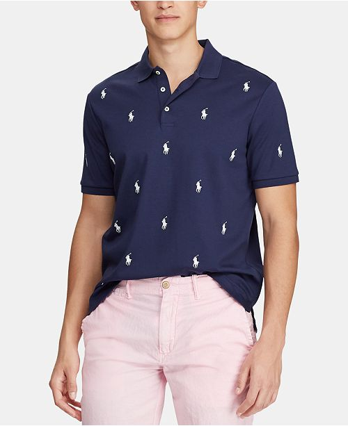 4c38c95d1 Polo Ralph Lauren Men's Classic-Fit Allover Pony Polo Shirt ...