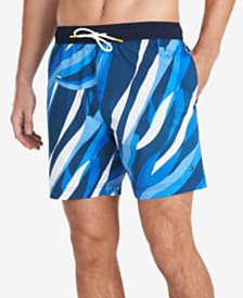 "Tommy Hilfiger Men's 7"" Tide Swim Trunks, Created for Macy's"
