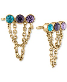Gold-Tone Multi-Crystal Bar & Chain Climber Earrings