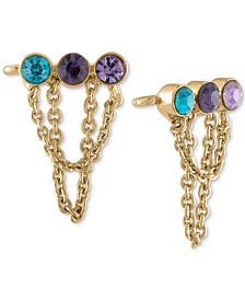 RACHEL Rachel Roy Gold-Tone Multi-Crystal Bar & Chain Climber Earrings