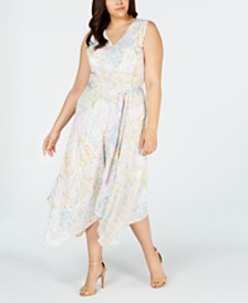Calvin Klein Plus Size Sleeveless Printed Tie-Waist Dress