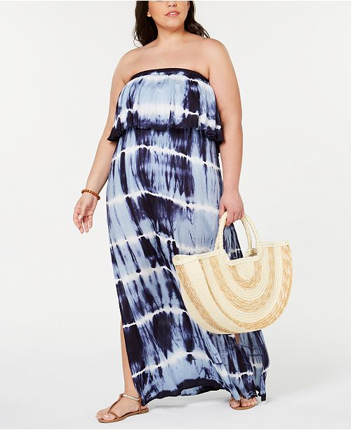 Raviya Plus Size Tie-Dyed Strapless Cover-Up Dress