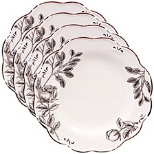 Vintage Cream with Floral 4-Pc. Salad Plate