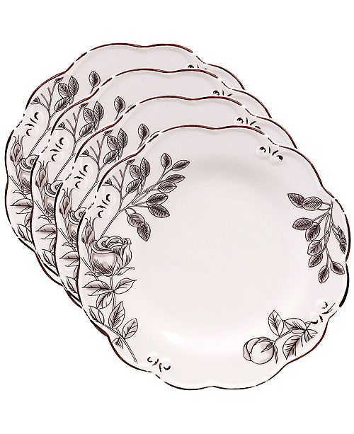 Certified International Vintage Cream with Floral 4-Pc. Salad Plate