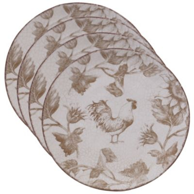 Toile Rooster 4-Pc. Salad Plate