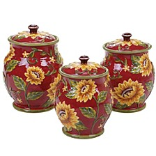Sunset Sunflower 3-Pc. Canister Set