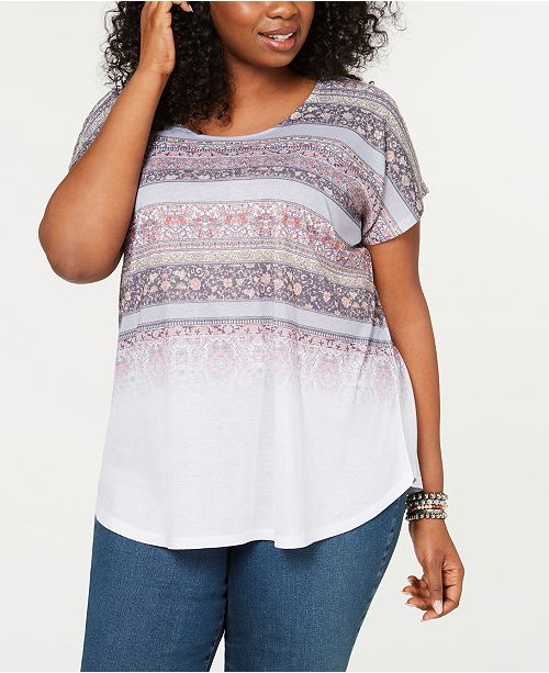 Style & Co Plus Size Short-Sleeve Dolman T-Shirt, Created for Macy's