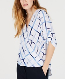 BCX Juniors' Printed Wrap-Front Top