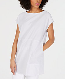 Eileen Fisher Organic Cotton Boat-Neck Striped Top, Regular & Petite