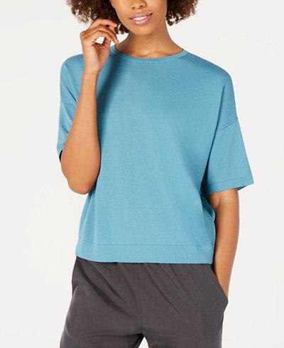 Eileen Fisher Tencel® Round-Neck Short-Sleeve Top, Regular & Petite