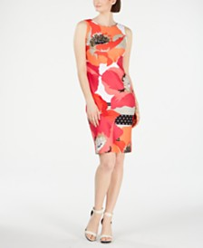 Calvin Klein Oversized Floral Sheath Dress